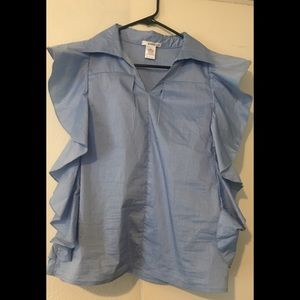 NEW w/out tags: Chambray Ruffle Top